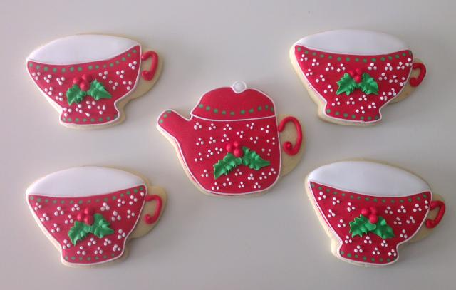 galletas decoradas con glasa real juego de te para navidad