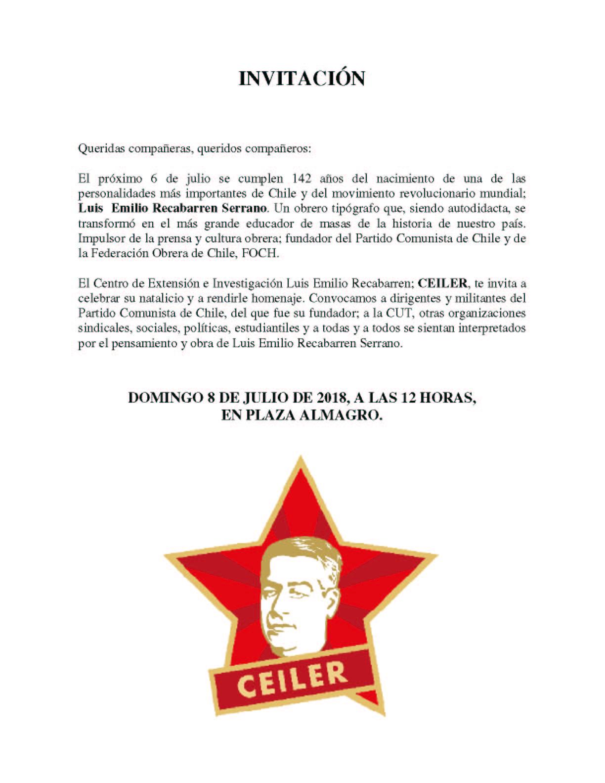 INVITACIÓN 142 AÑOS LUIS  EMILIO RECABARREN