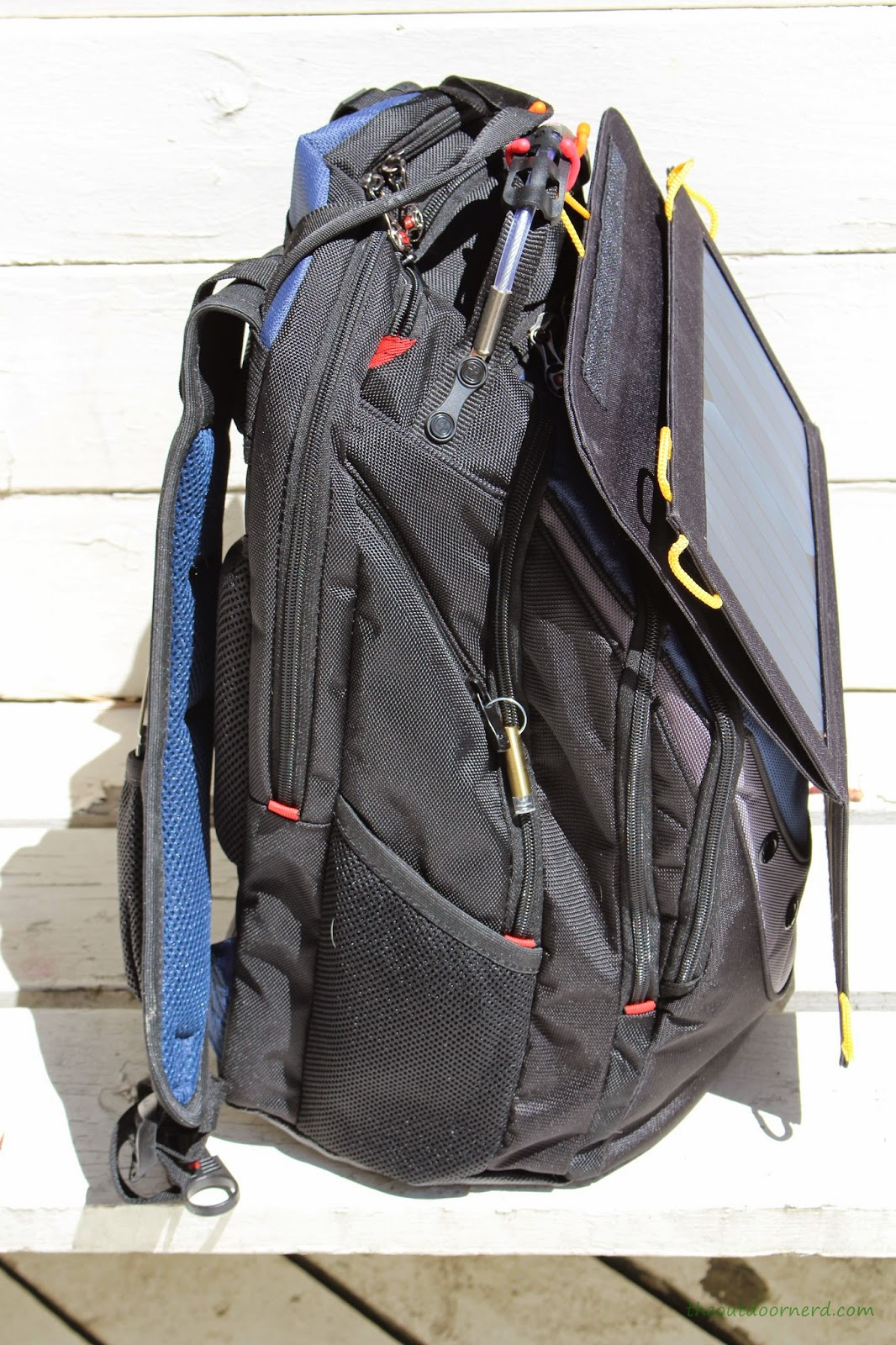 Levin Sol-Wing 13W Solar USB Charger: Attached to SwissGear Backpack: Side View