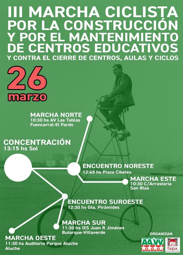 26 de marzo Marcha Ciclista por la Enseñanza Pública