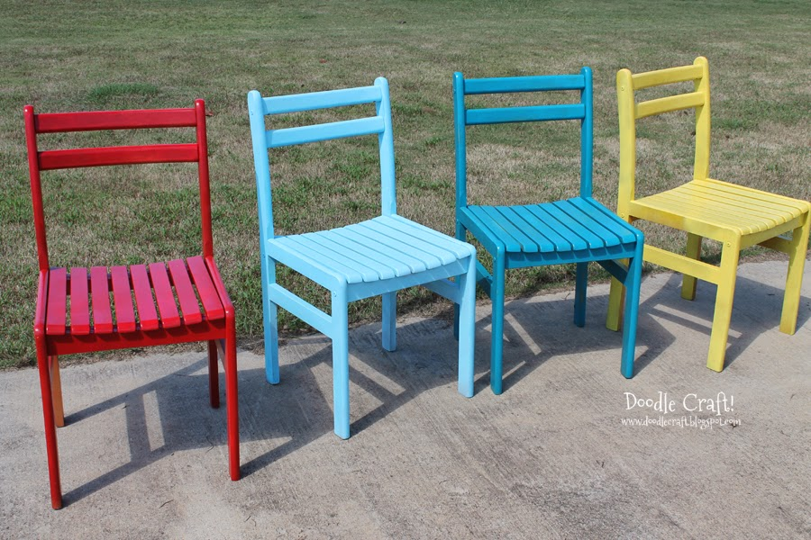 Delightful Colorful Wooden Chairs Redone!
