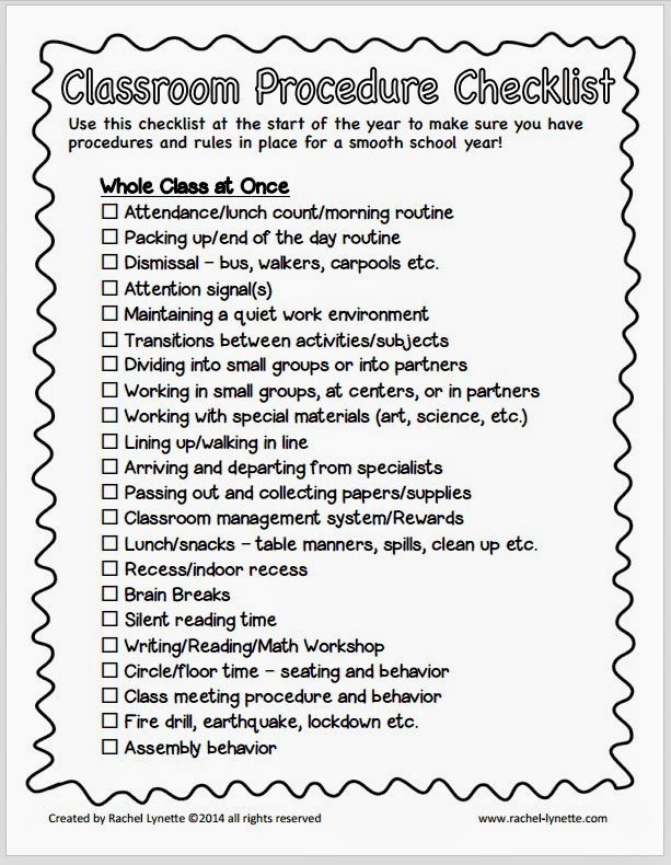 Elementary Classroom Procedures : Classroom procedure freebie