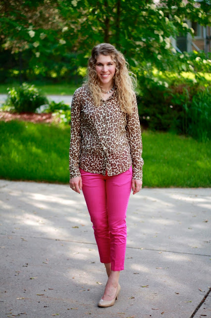 leopard button up, pink ankle pants, nude heels