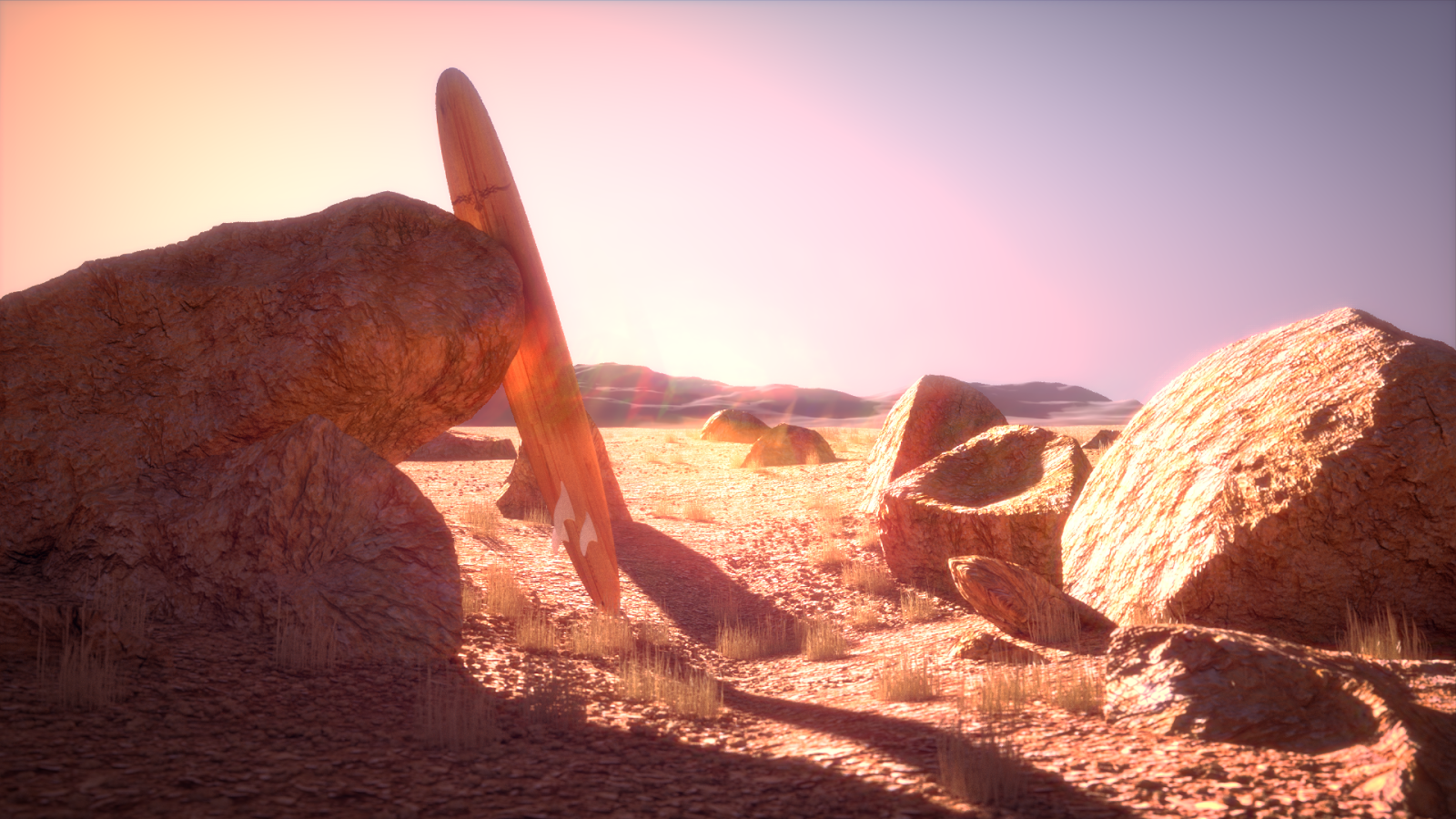 blender 3d cycles render surfboard desert rocks