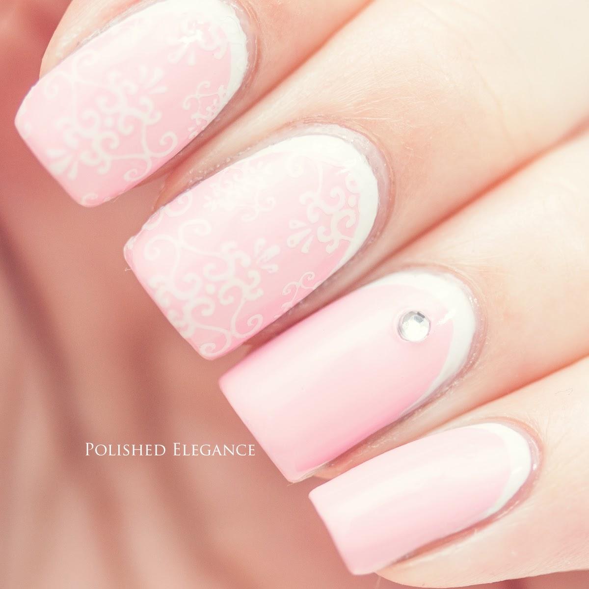 Серебристый с розовым маникюр фото