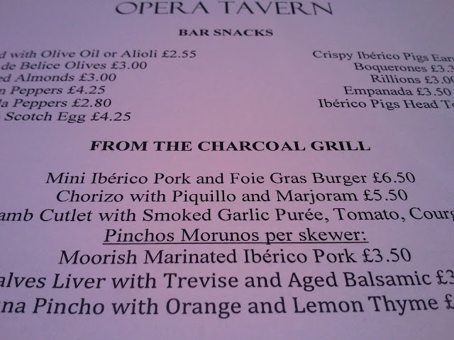 Opera Tavern Menu