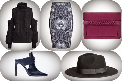 Look de fim semana camisola preta, saia cinzena, carteira rosa, sapatos e chapeu preto