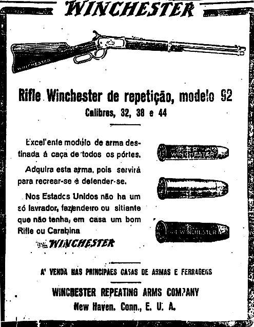 Propaganda das Espingardas Winchester. Veiculada no jornal 'O Estado de São Paulo' em 1926.
