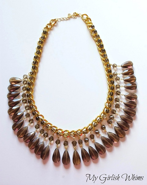 bead and wire embellished chain statement necklace