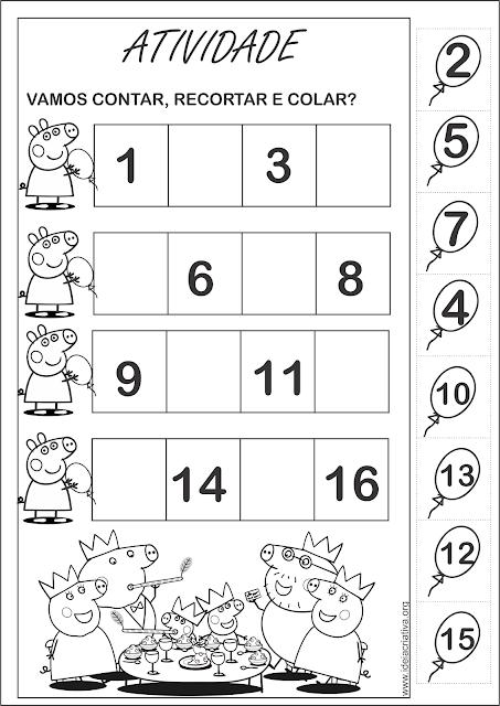 Atividades Peppa Pig Numerais e Formas Geométricas