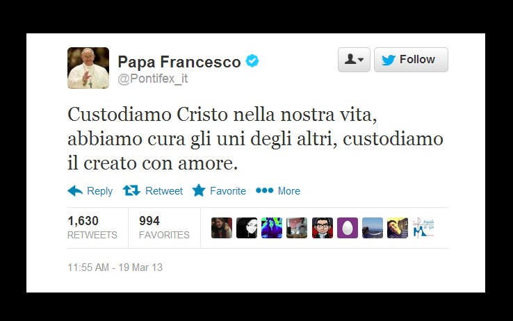 tweet Papa Francesco