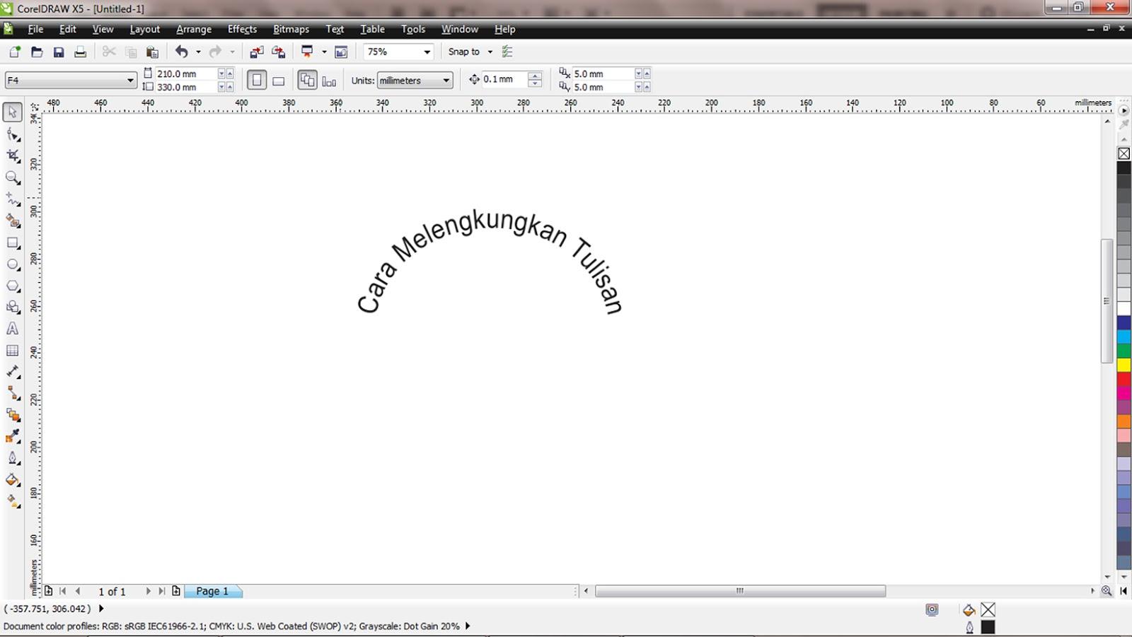 Cara melengkungkan tulisan di corel