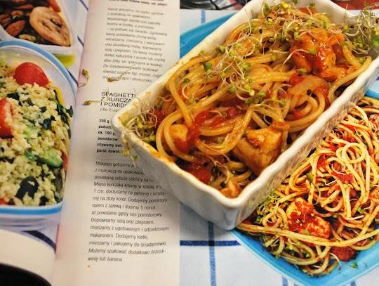 Spaghetti z kurczakiem i pomidorami