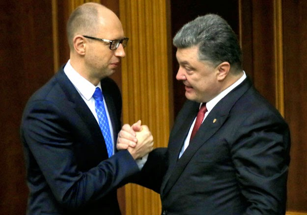 Yatseniuk dimostra l'unità con il presidente Poroshenko