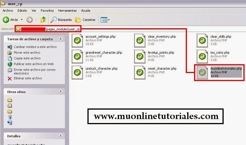 Agregando módulo al usercp