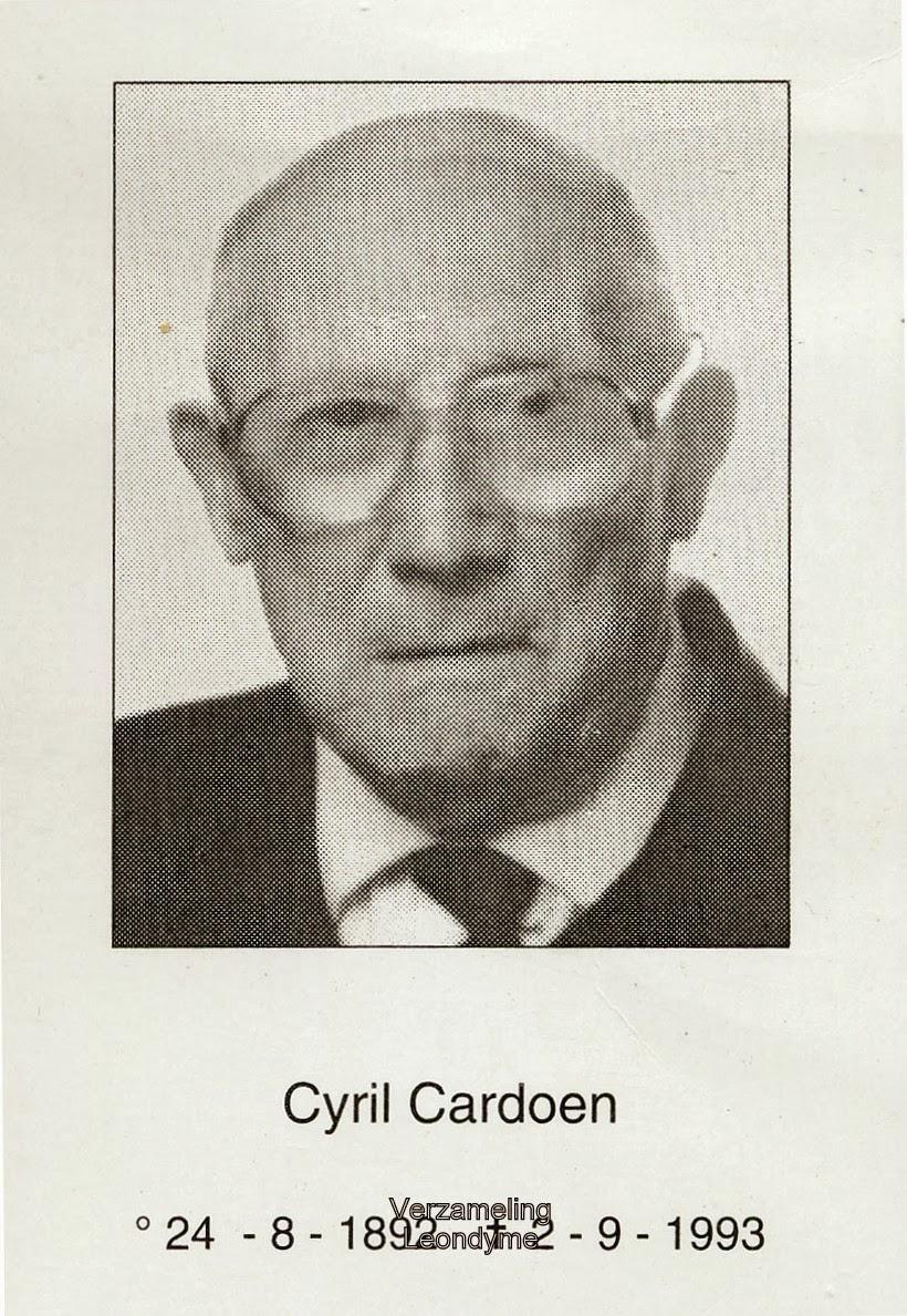 Bidprentje van Cyril Cardoen 1892-1993. Verzameling Leondyme