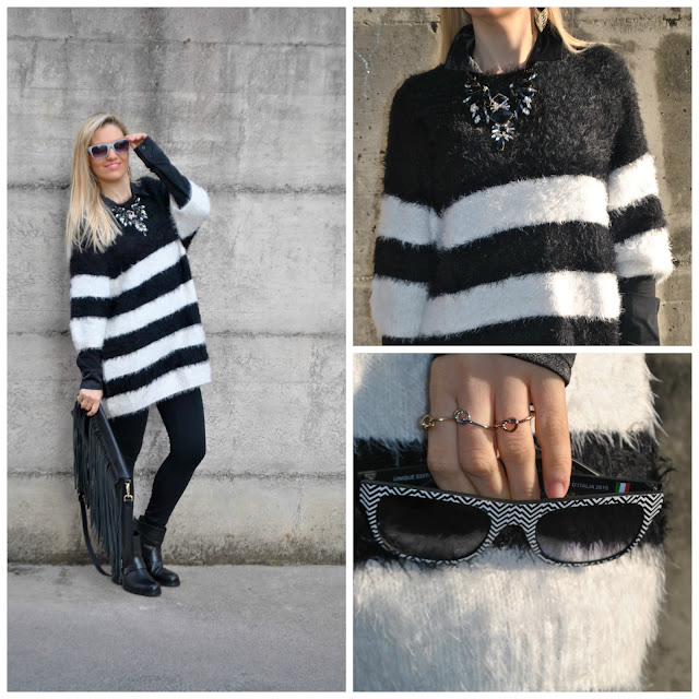 outfit a righe outfit maglione a righe outfit bianco e nero come abbinare il bianco e nero abbinamenti bianco e nero black and white outfit how to wear black and white how to combine black and white maxi sweater dress outfit RECAP OUTFIT gennaio 2016 outfit invernali outfit gennaio 2016 january 2016 outfits recap january outfits recap winter outfits cosa indossare in inverno outfit invernali what to wear in winter winter outfits mariafelicia magno fashion blogger colorblock by felym fashion blog italiani fashion blogger italiane blog di moda blogger italiane di moda fashion blogger bergamo fashion blogger milano fashion bloggers italy italian fashion bloggers influencer italiane italian influencer