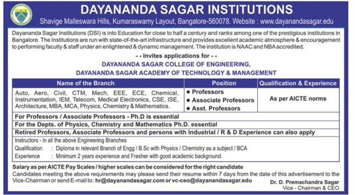 dayananda sagar institutions wanted professor associate