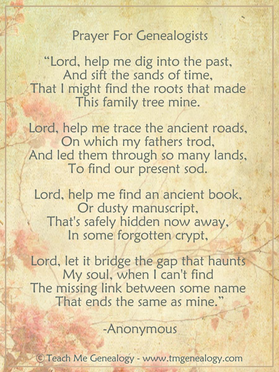 prayer for genealogists