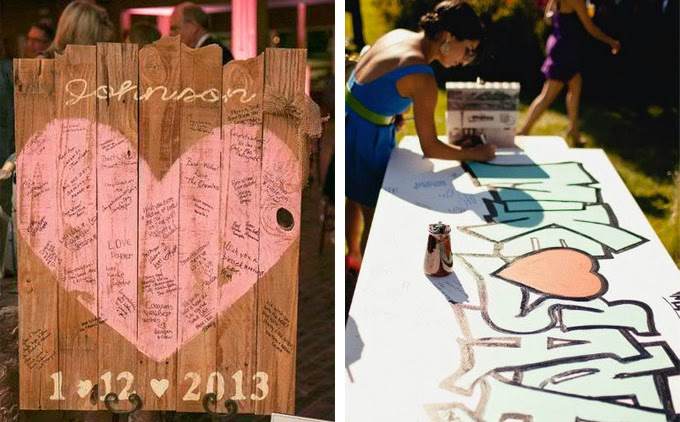 12 Delightful Ways To Use Wedding Signs Throughout Your Wedding - Display As Decor That Doubles As The Guest Book