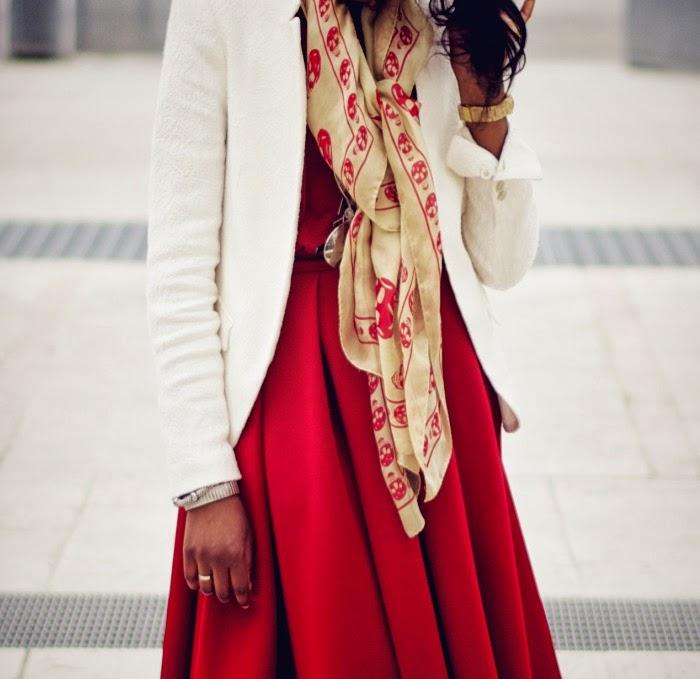 alexander mcqueen skull scarf in red asos red midi skirt
