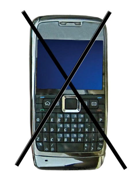 cell phone with cross showing banned cell