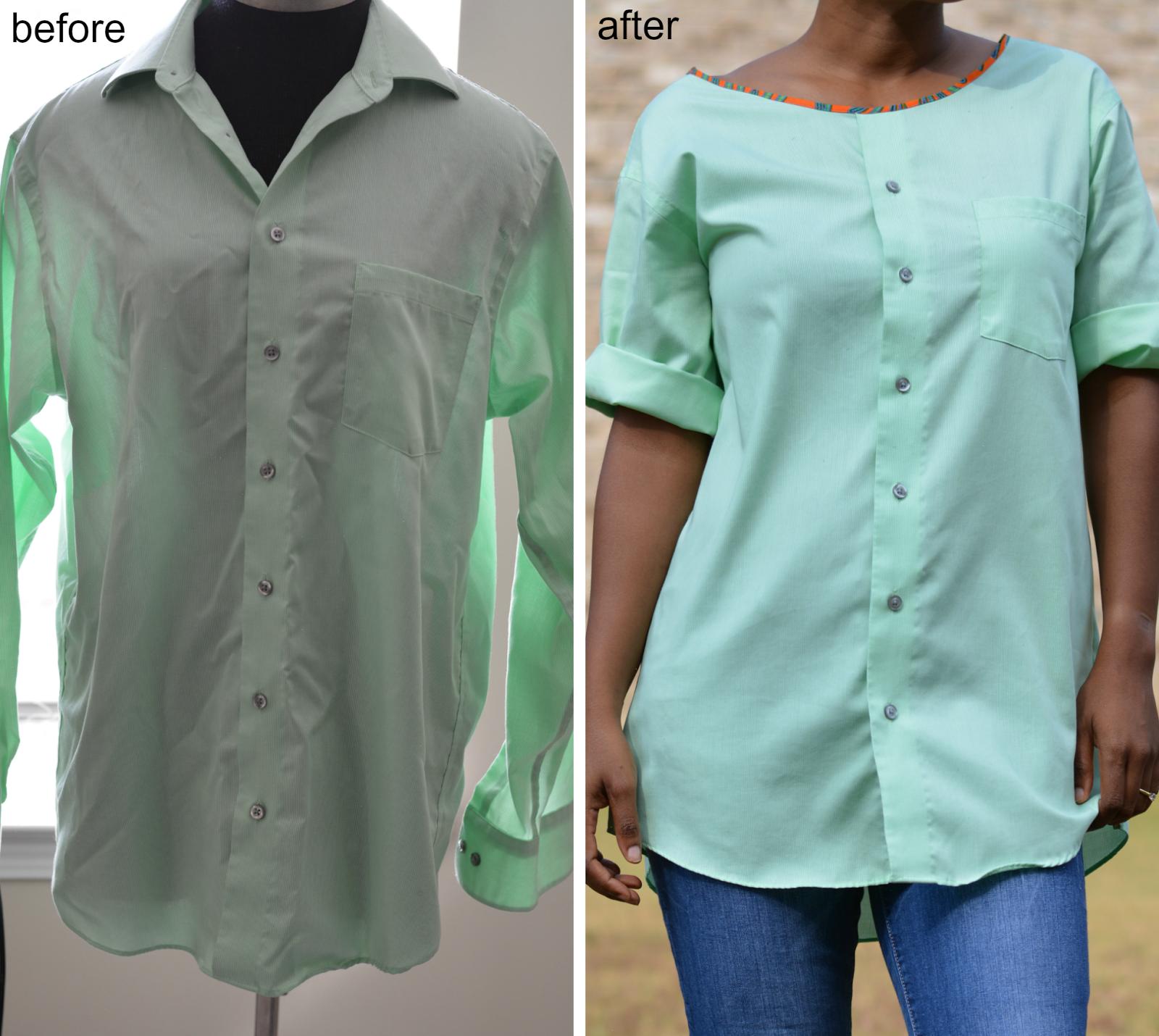 Как из мужской рубашки сделать женскую рубашку фото