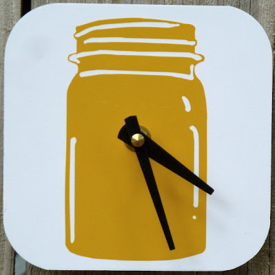 yellow mason jar clock 