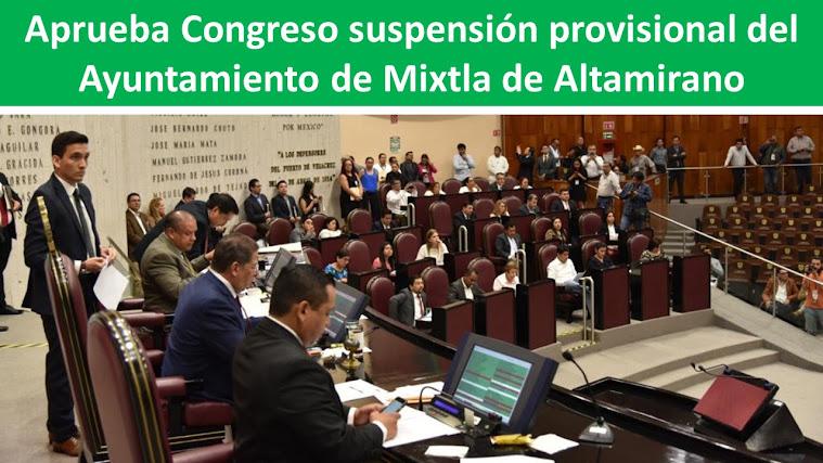 Aprueba Congreso suspensión provisional