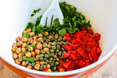 Sauteed Chickpea Salad with Roasted Red Peppers, Capers, Mint, and Sumac found on KalynsKitchen.com