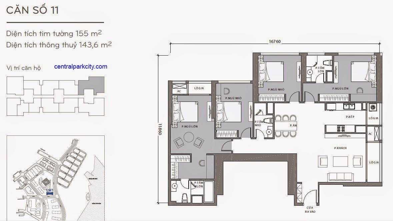 Căn hộ Landmark 1 - kiểu nhà số 11 - 155m2 - 4PN
