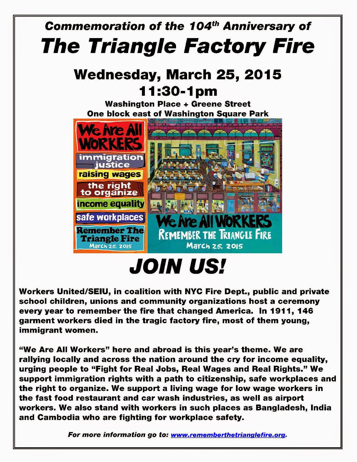 Triangle Factory Fire Commemoration Wednesday March 25, 2015