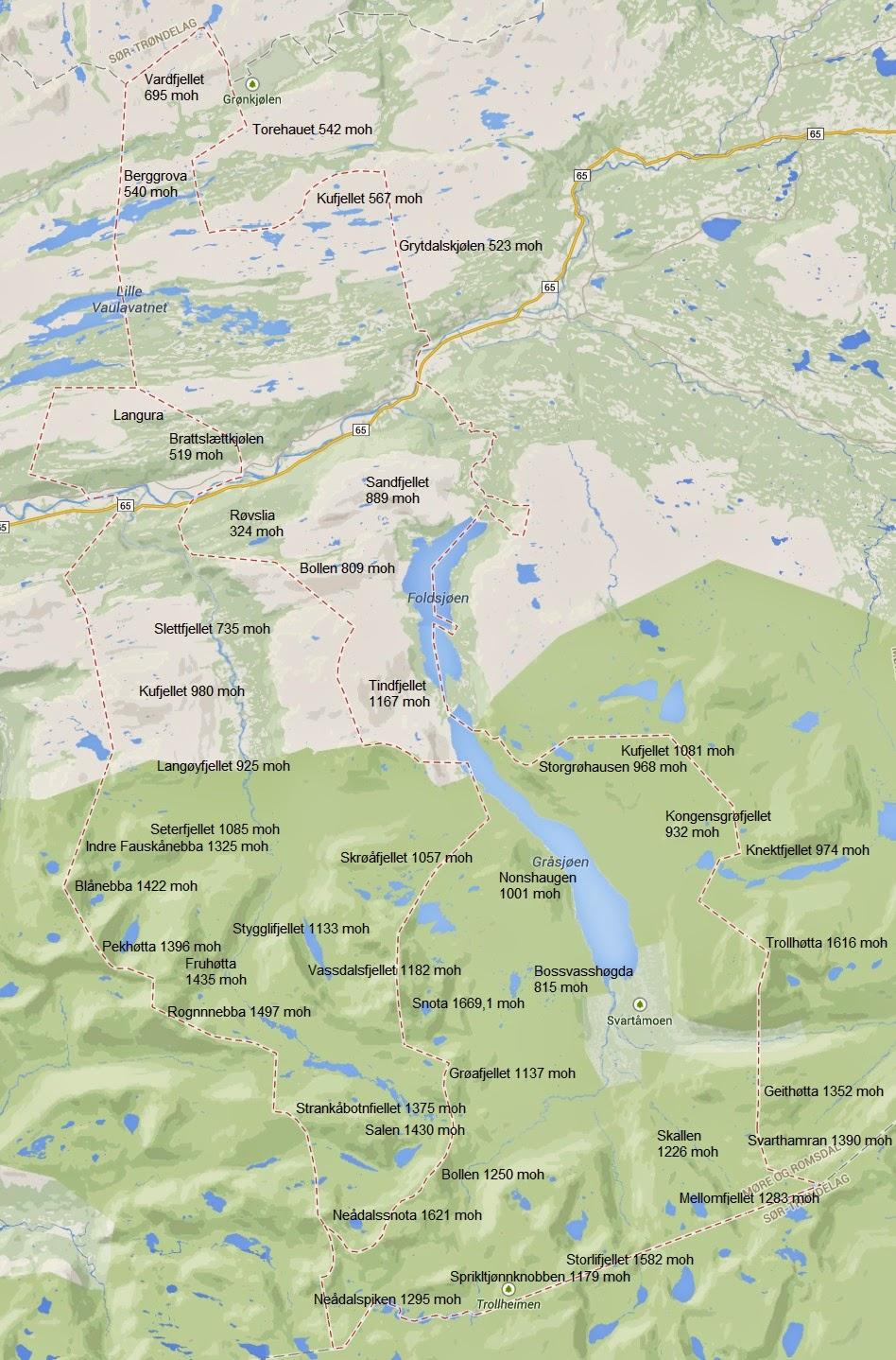 Kart over Øvre Surnadal 6653 og 6655