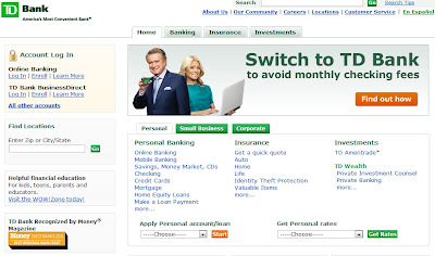 TD Bank home page