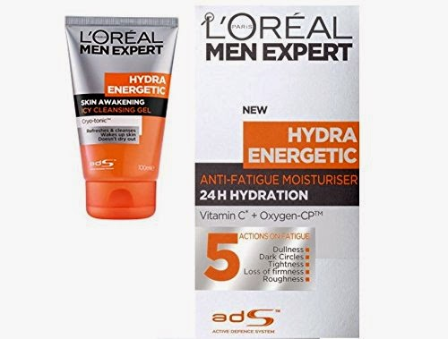 Loreal Men Expert Hydra Energetic Skin Awakening Ice Cleansing Gel + 24H Anti-Fatigue Moisturiser for Rs 525