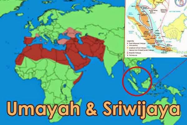 peta wilayah kekuasaan Umayah dan Sriwijaya