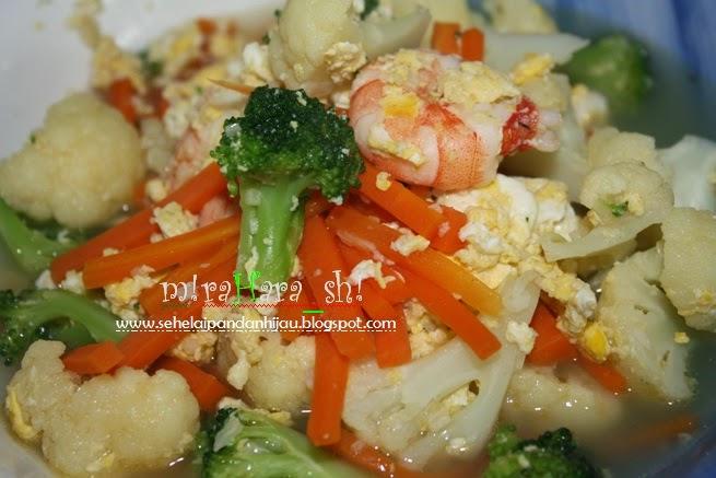 Resepi Bunga Kubis Bujang with egg chicken