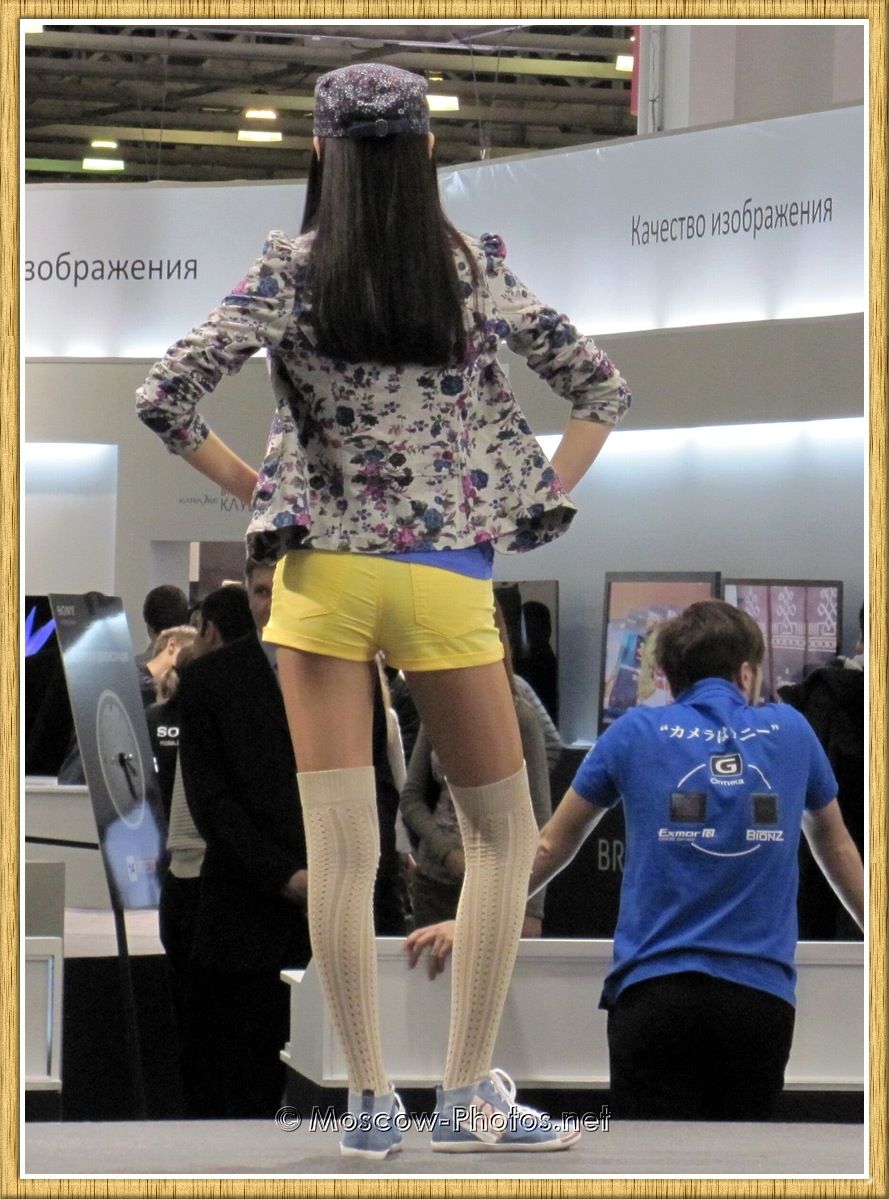 Model in yellow shorts at Photoforum 2011