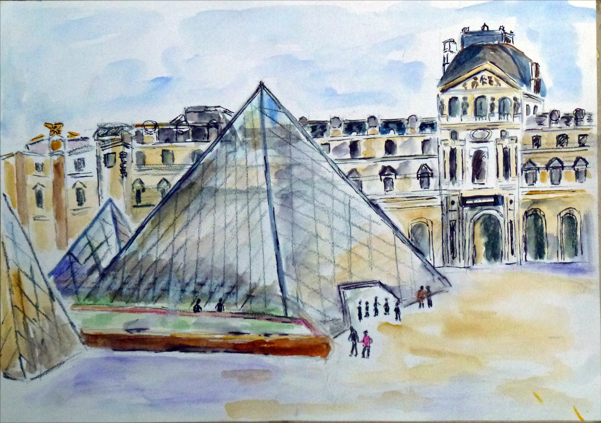 art de vivre la peinture de peintrefiguratif croquis aquarelle de la pyramide du louvre. Black Bedroom Furniture Sets. Home Design Ideas