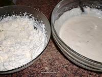 nata montada y mezcla de queso