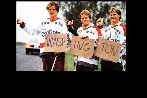 Rod Langway, Doug Jarvis and Brian Engblom hit the road after the summer, 1982 trade that brought them and Craig Laughlin to the Capitals (Book Pg. 216 - and by the way, I'm hoping this is a posed photo)