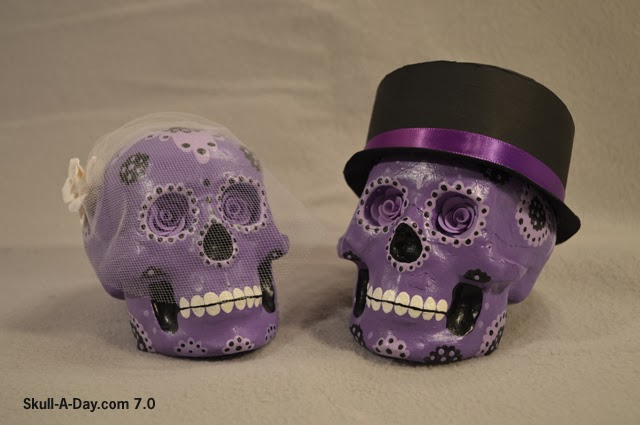 Sugar Skull Wedding Cake Toppers