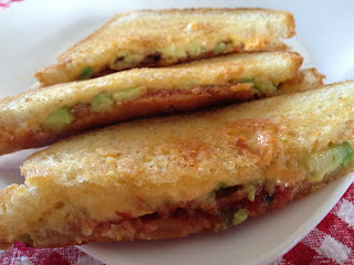 Not Your Usual Grilled Cheese: Loaded with Bacon, Avocado, Mushrooms and Salsa