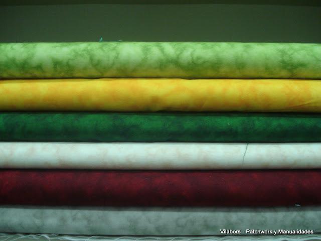 Telas Patchwork marmoleadas en diferentes colores