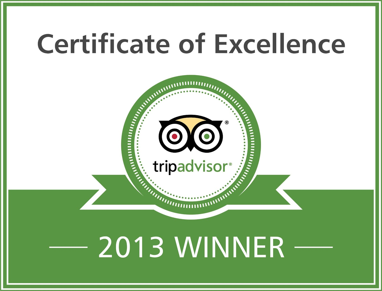 For the third consecutive year Trip Advisor grants us the Certificate of Excellence in Service