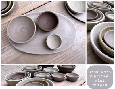 greenware mini stoneware dishes