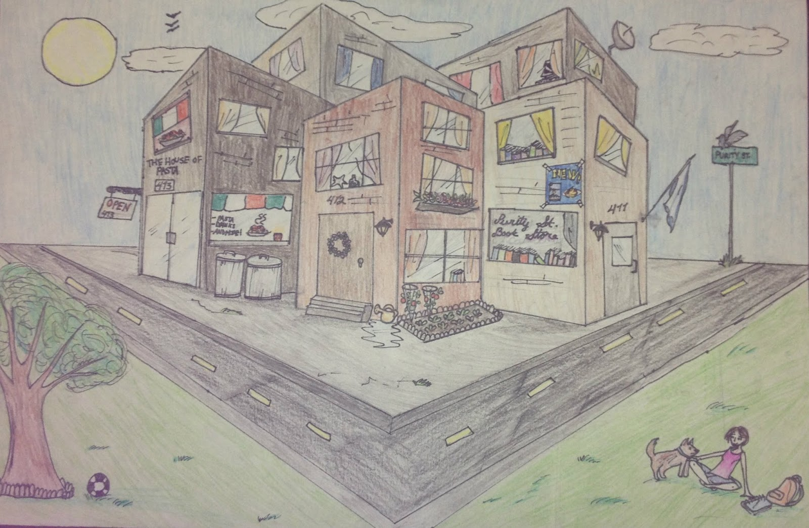 City Blocks Drawing 2 Point Perspective