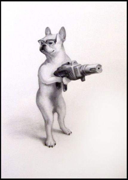 Xiau-Fong Wee ilustrações surreais animaizinhos de óculos e armas grandes