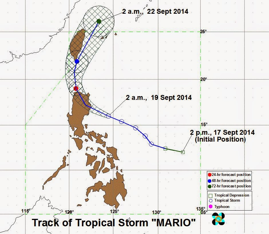 Track of Tropical Storm Mario