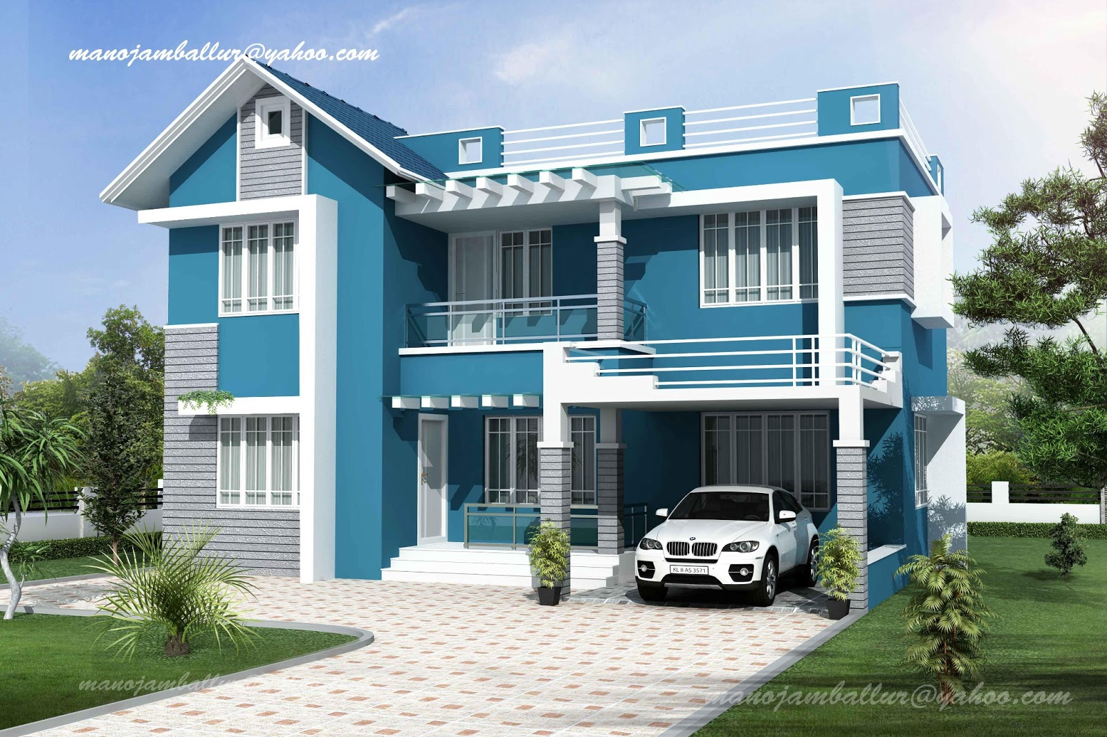 Portfolio exterior home design works using vray Portfolio home plans